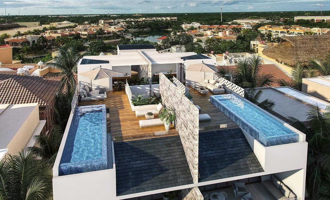 3 bedroom beachfront penthuse in Puerto Aventuras