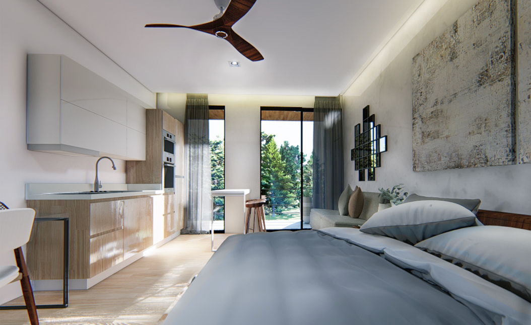Great studio with cozy terrace.